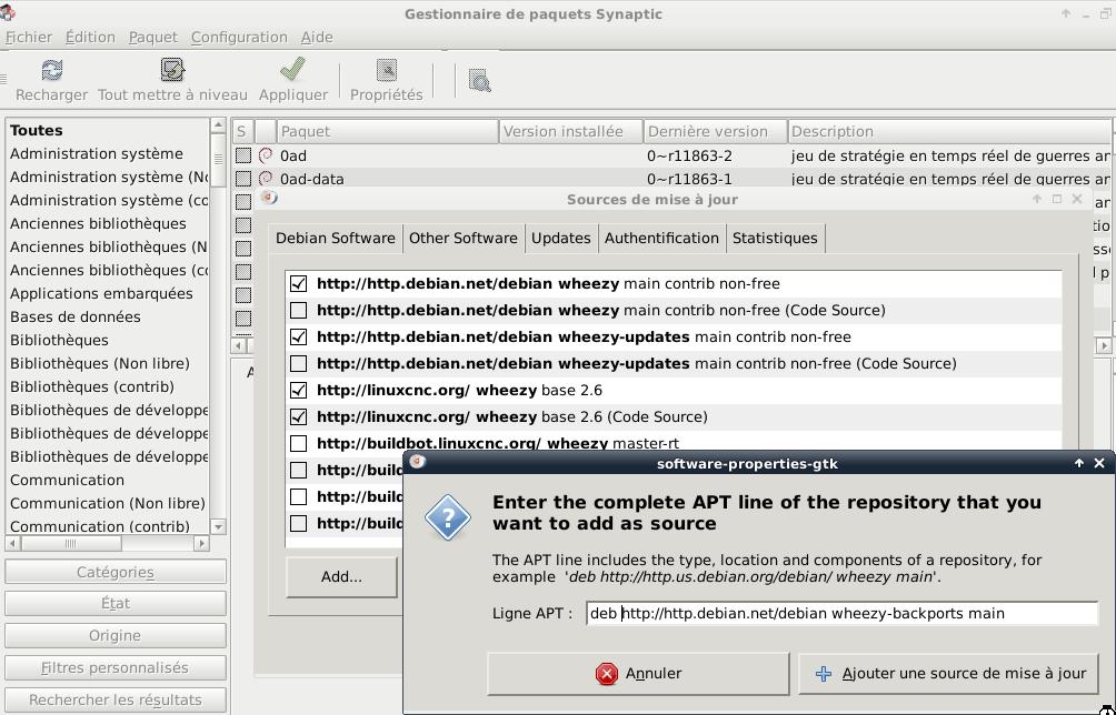 [tutoriel]Presentation et installation de LinuxCNC Ajouter_depot